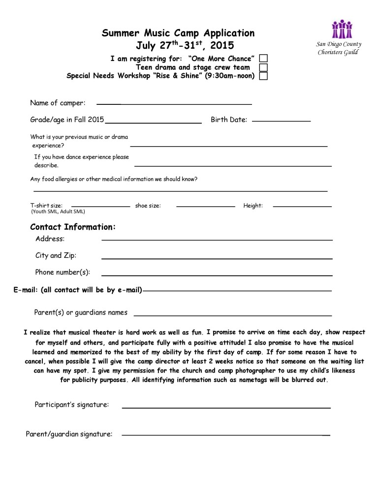 application for 2015 Summer Music Camp