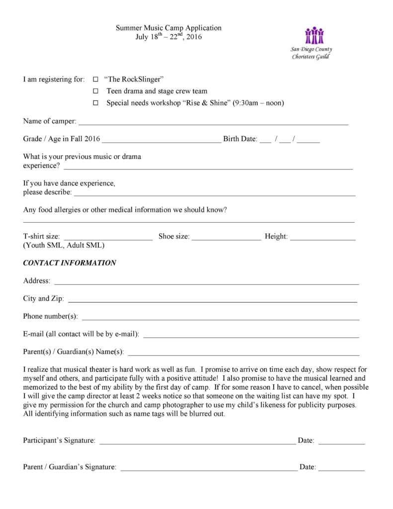 2016 Summer Music Camp Application